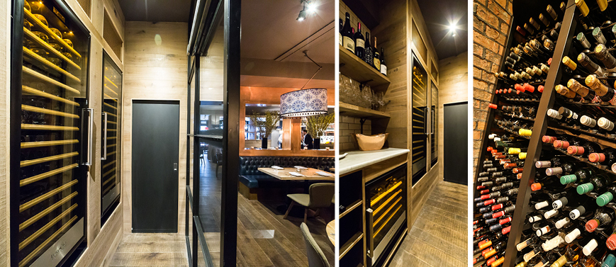 Asador 44 restaurant - Cardiff - United Kingdom. Integrated wine cabinet wine dispenser systeme in the wine bar, there are the performing EuroCave Professional solutions choose to offer an amazing wine list.